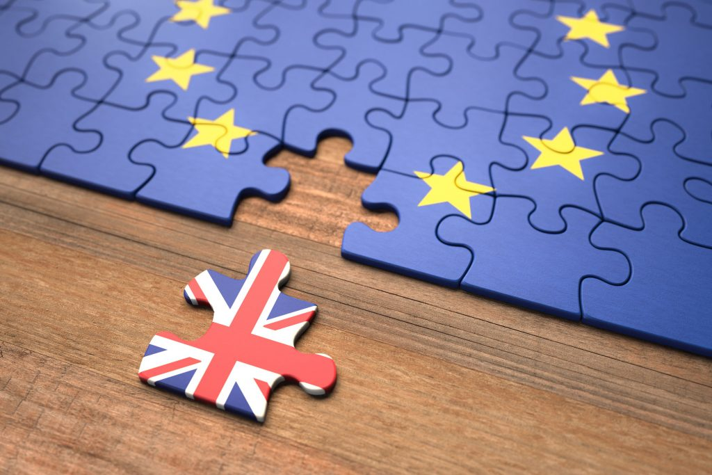 Driving in the EU. Jigsaw puzzle with UK piece removed